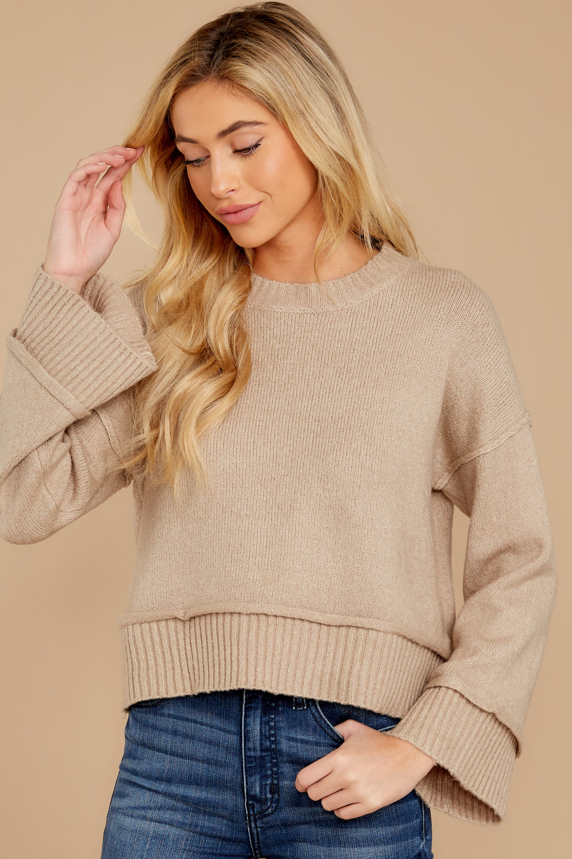 2 Woman About Town Warm Taupe Sweater at reddressboutique.com