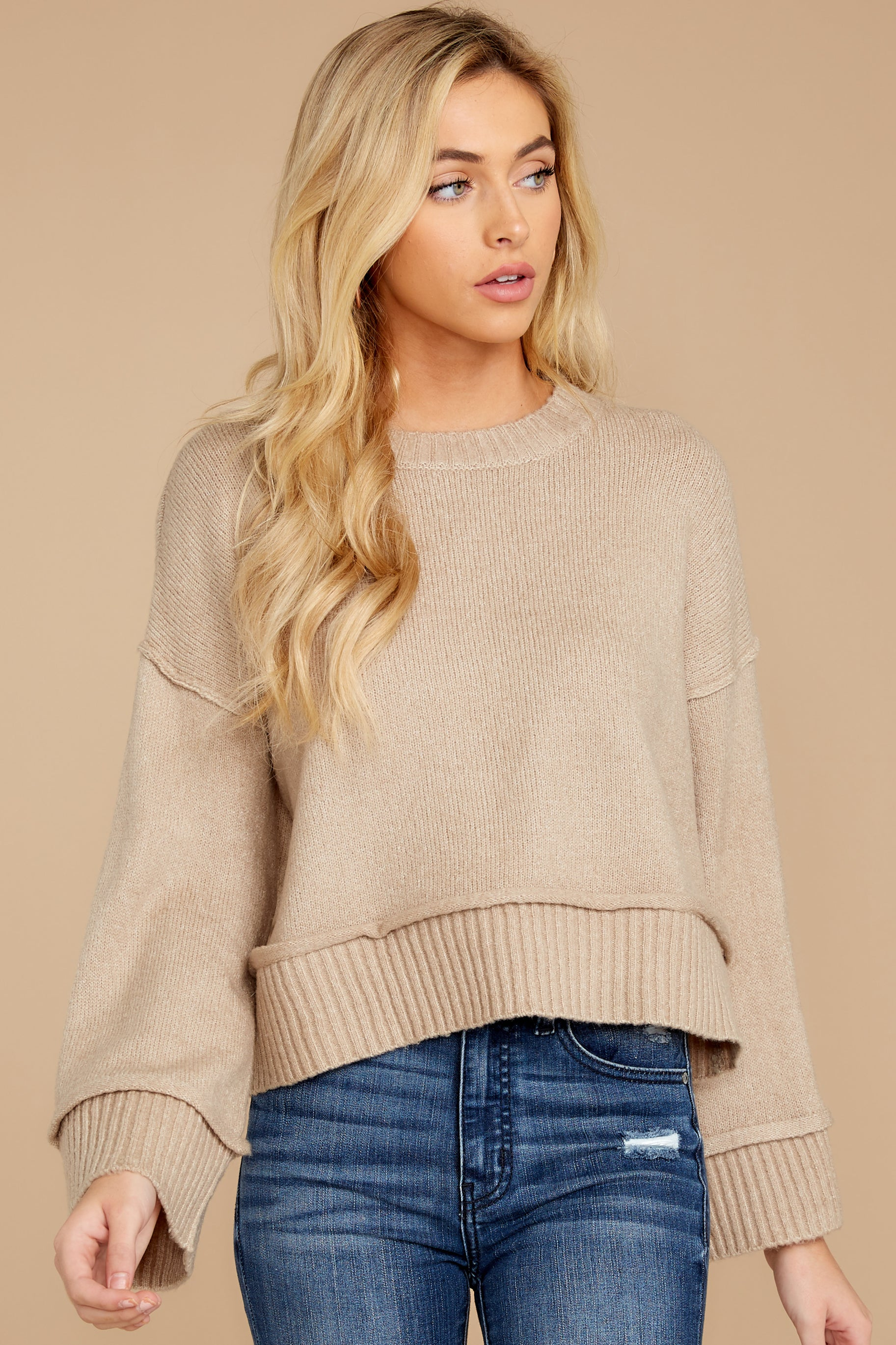 3 Woman About Town Warm Taupe Sweater at reddressboutique.com