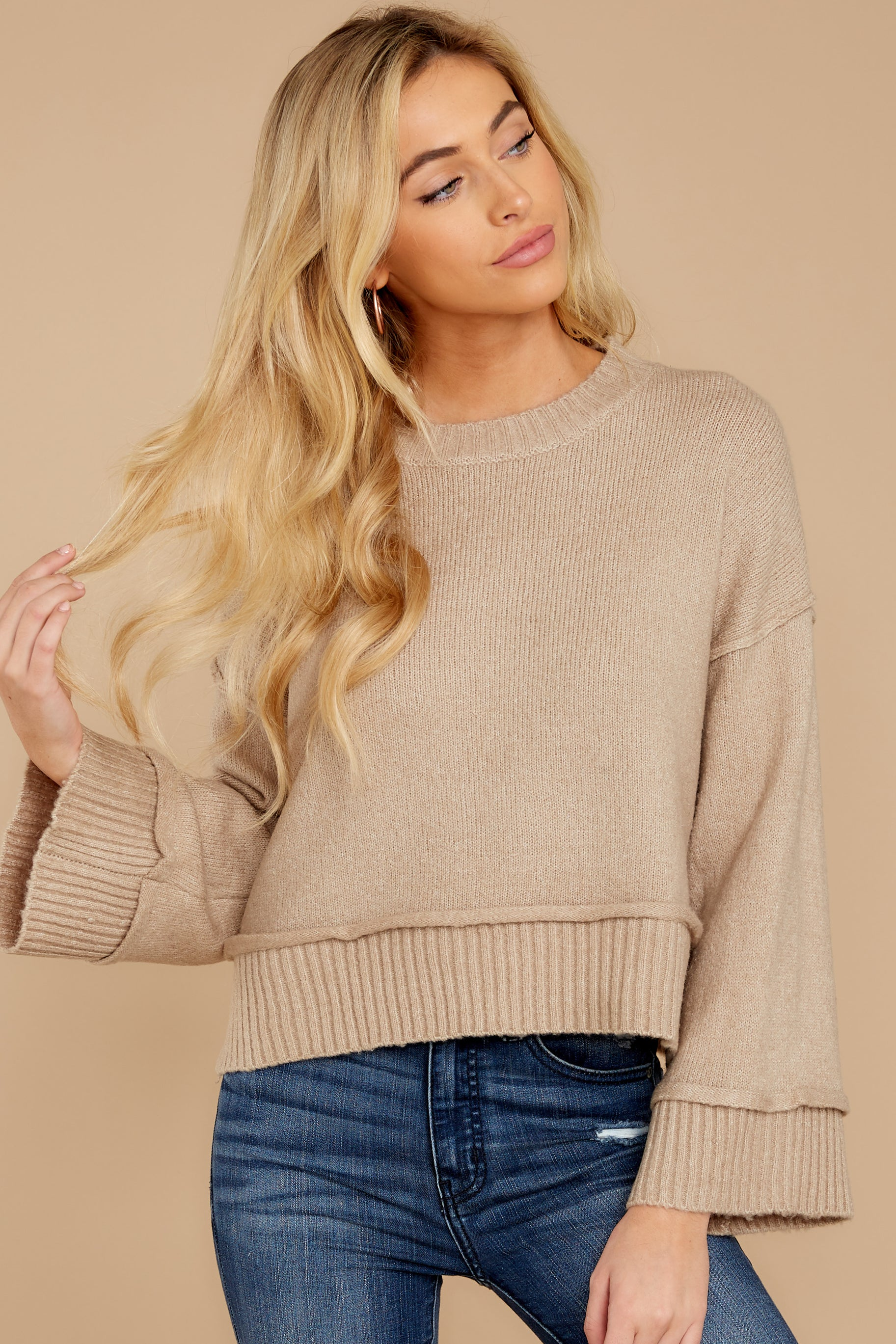 4 Woman About Town Warm Taupe Sweater at reddressboutique.com