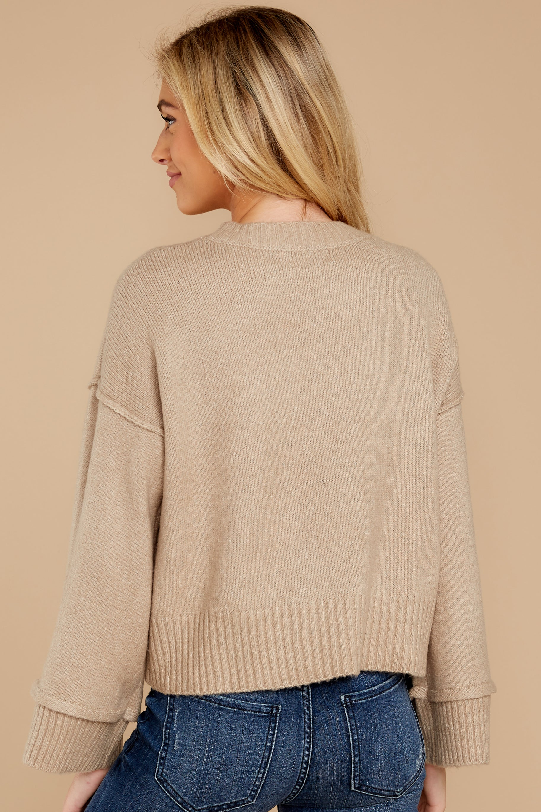 5 Woman About Town Warm Taupe Sweater at reddressboutique.com