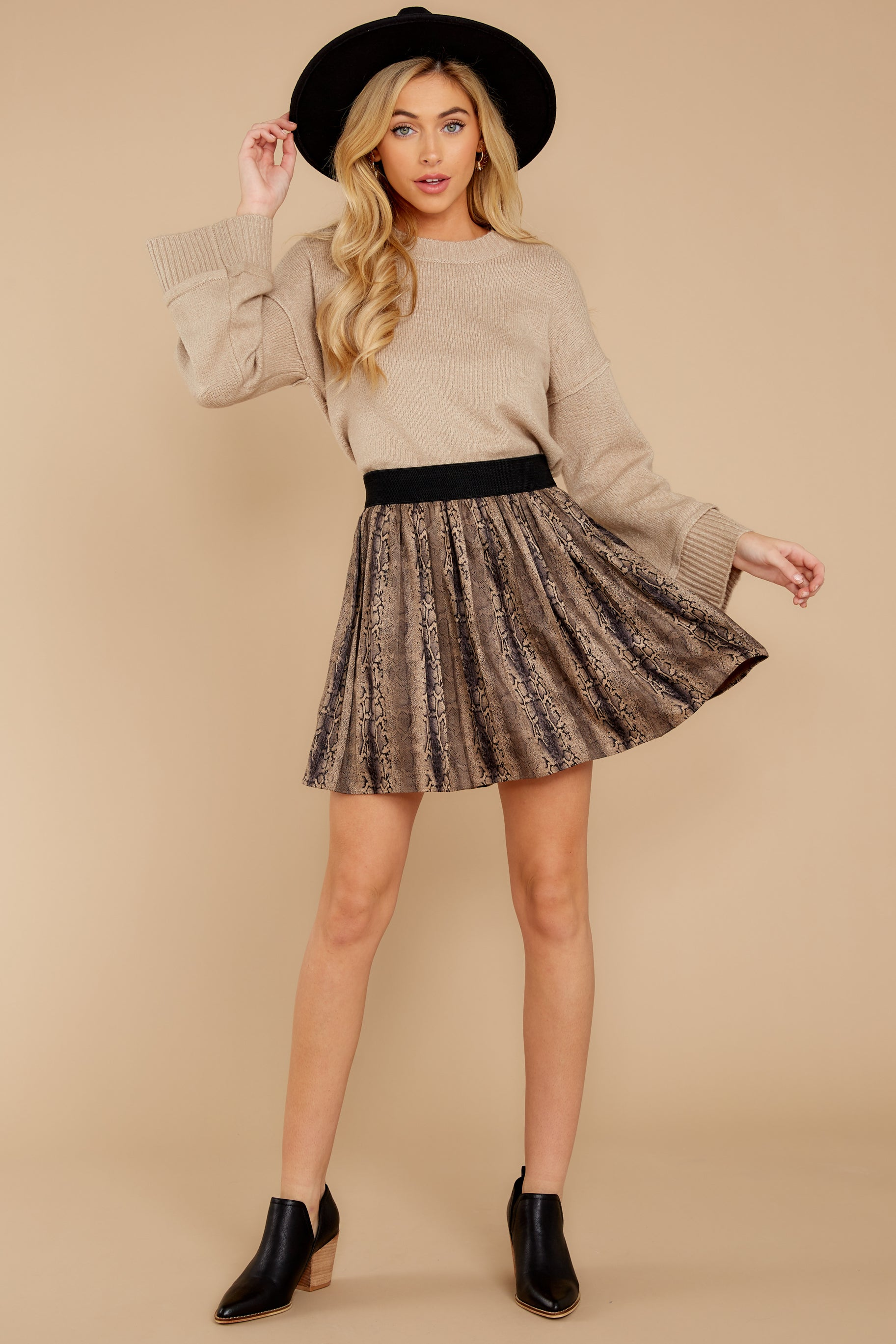 7 Woman About Town Warm Taupe Sweater at reddressboutique.com