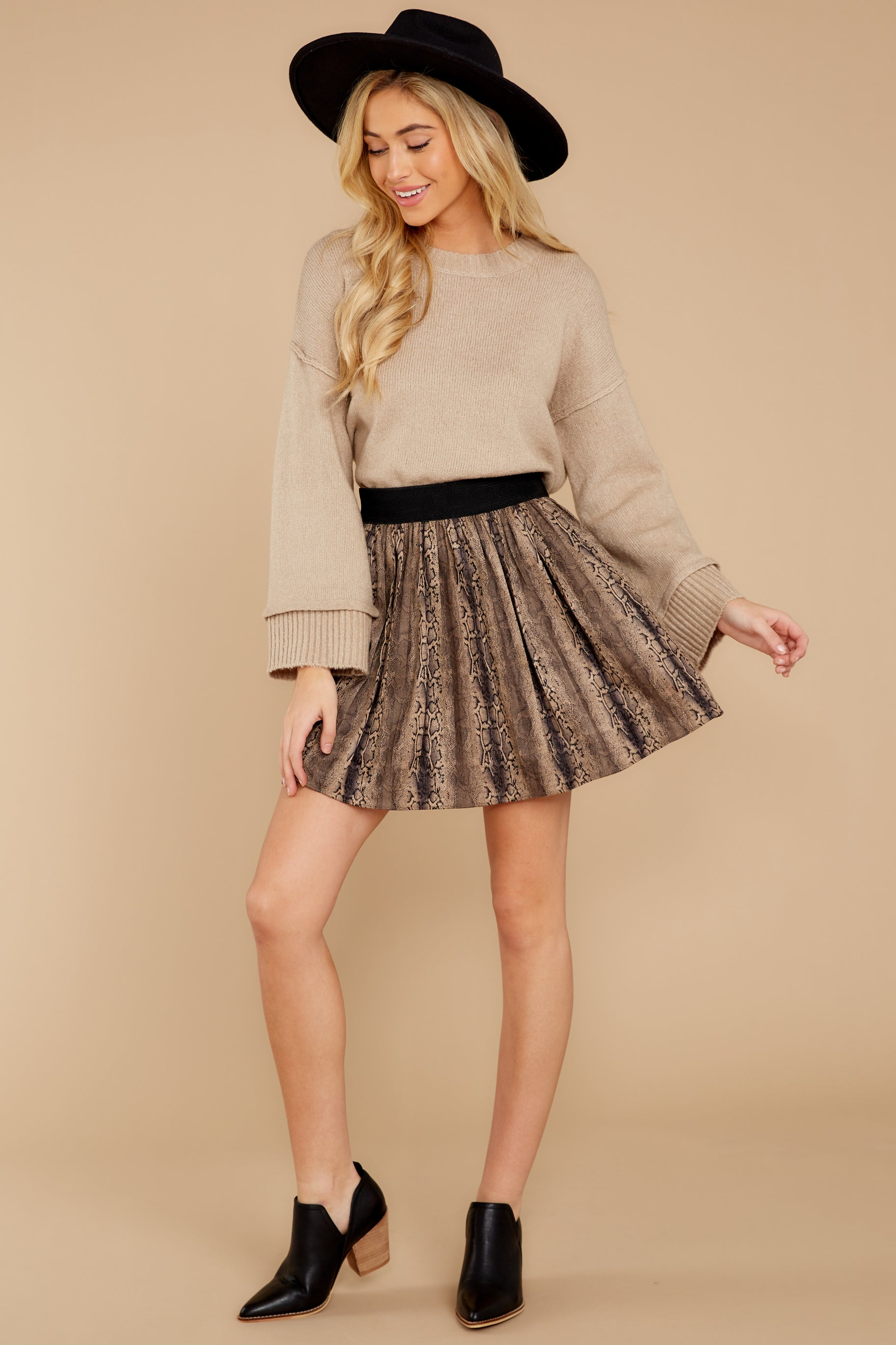 9 Woman About Town Warm Taupe Sweater at reddressboutique.com