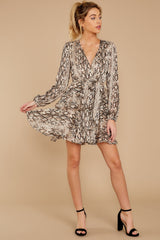 3 Hiss On The Lips Taupe Snake Print Dress at reddress.com