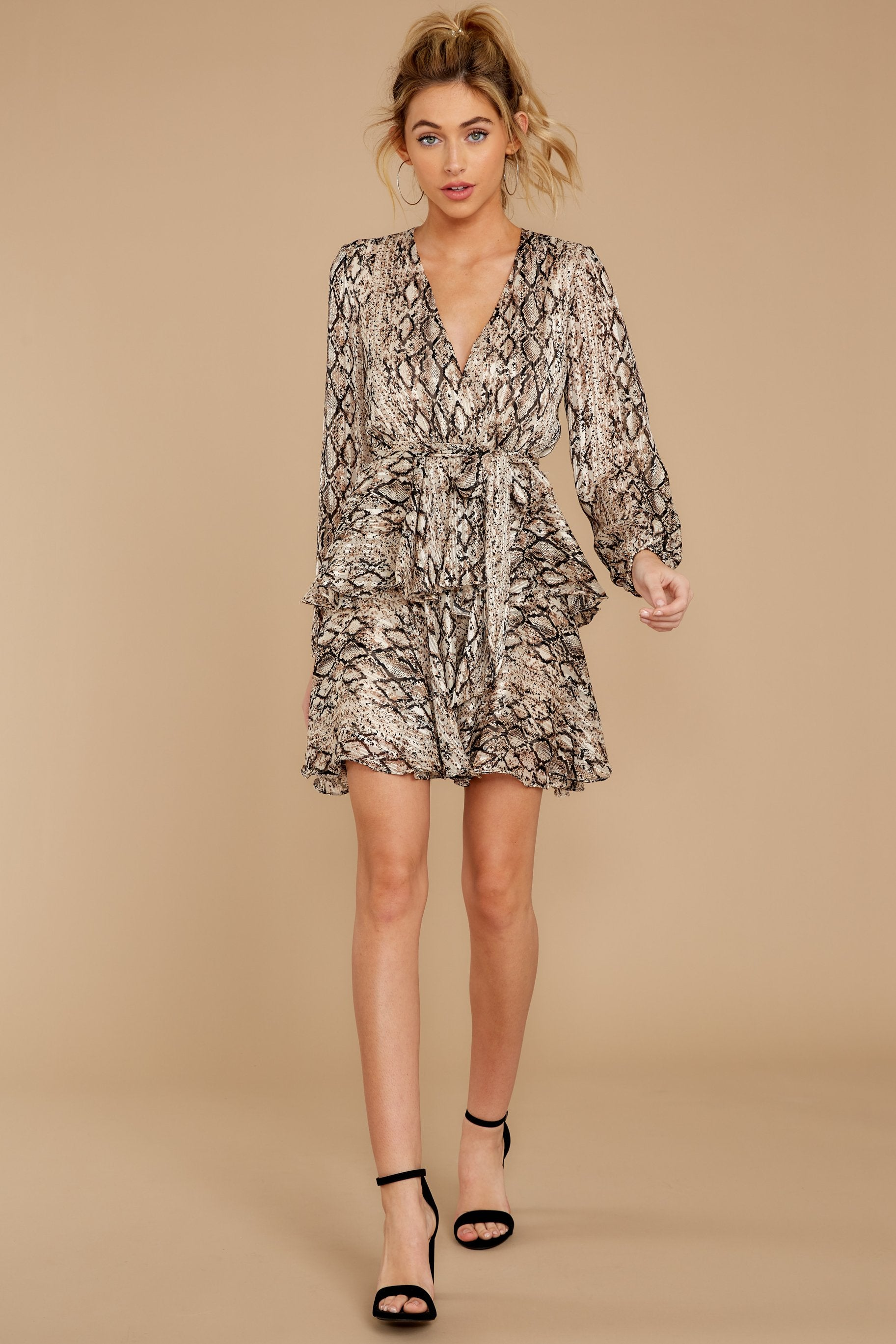 2 Hiss On The Lips Taupe Snake Print Dress at reddress.com