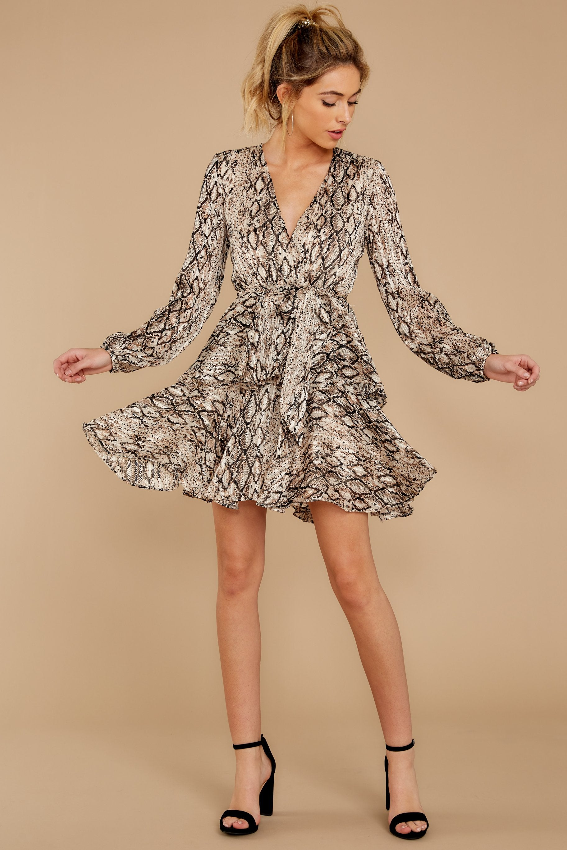 1 Hiss On The Lips Taupe Snake Print Dress at reddress.com