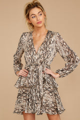 4 Hiss On The Lips Taupe Snake Print Dress at reddress.com