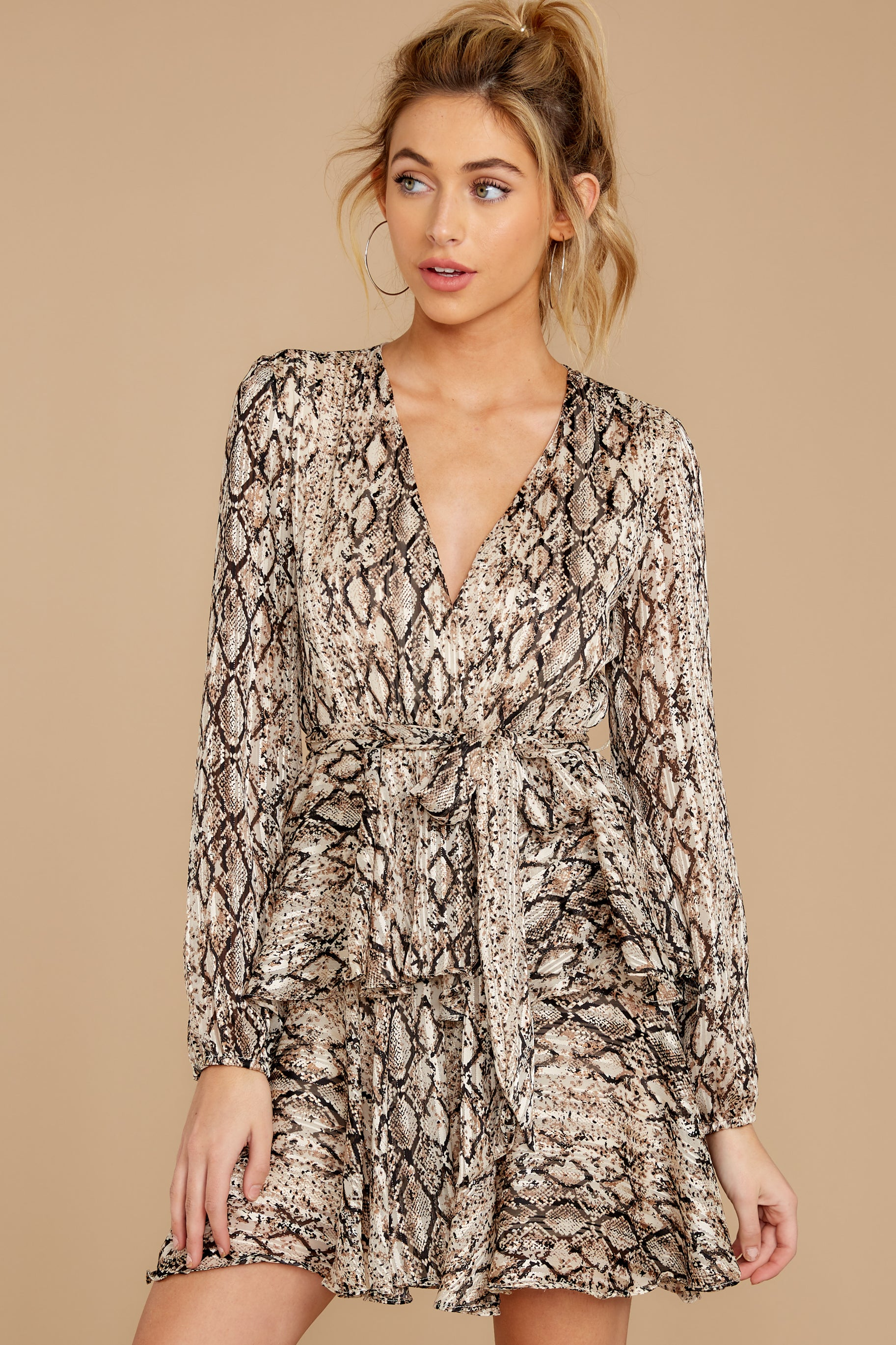 6 Hiss On The Lips Taupe Snake Print Dress at reddress.com