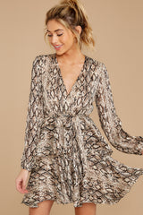5 Hiss On The Lips Taupe Snake Print Dress at reddress.com
