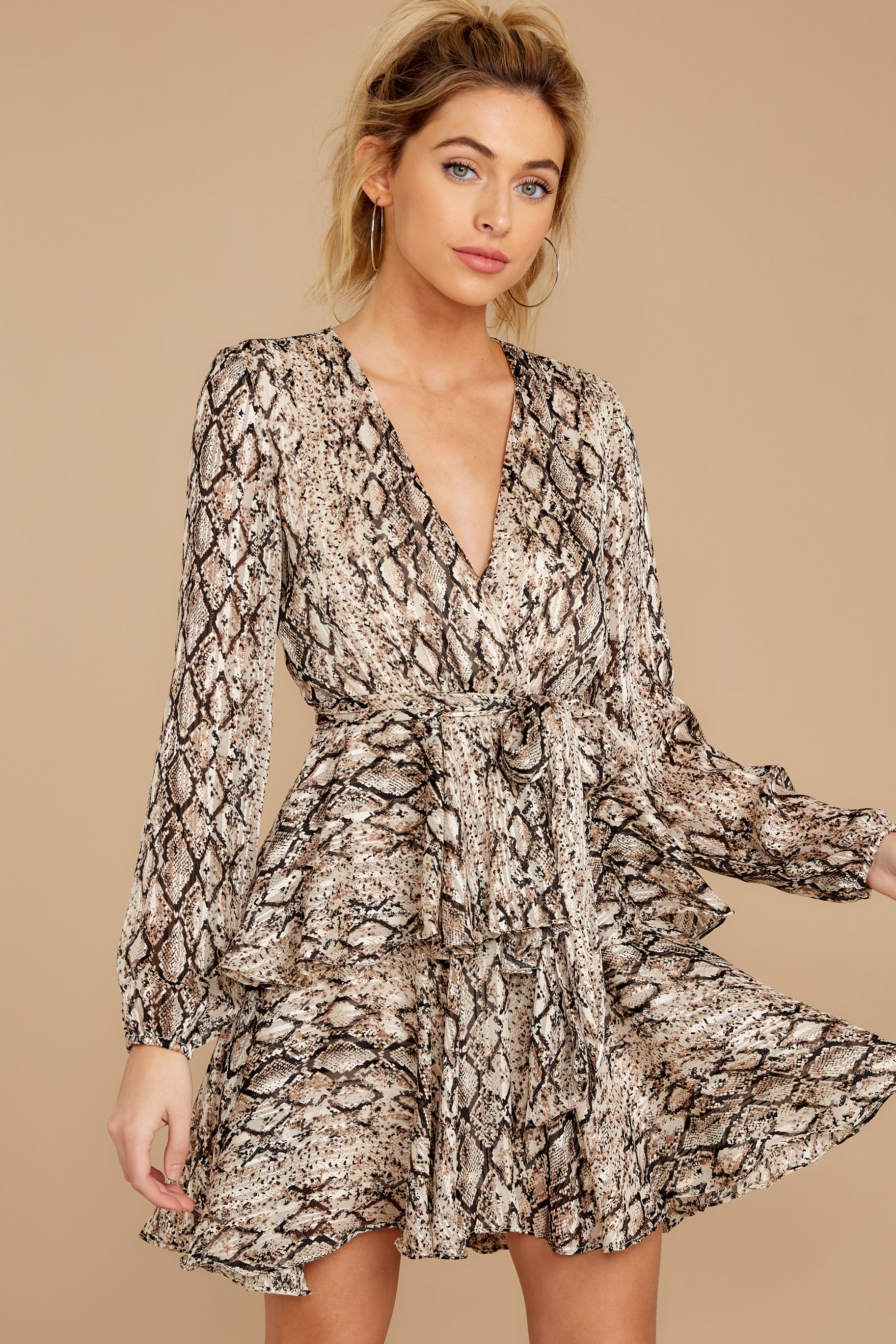 7 Hiss On The Lips Taupe Snake Print Dress at reddress.com