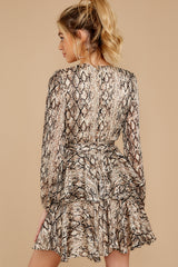8 Hiss On The Lips Taupe Snake Print Dress at reddress.com