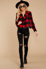 3 Light My Fire Red Plaid Moto Jacket at reddressboutique.com