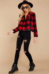 1 Light My Fire Red Plaid Moto Jacket at reddressboutique.com