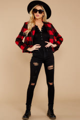 2 Light My Fire Red Plaid Moto Jacket at reddressboutique.com