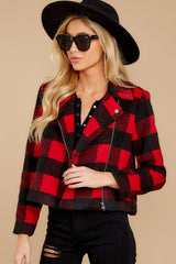 5 Light My Fire Red Plaid Moto Jacket at reddressboutique.com