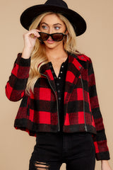6 Light My Fire Red Plaid Moto Jacket at reddressboutique.com