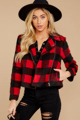 7 Light My Fire Red Plaid Moto Jacket at reddressboutique.com