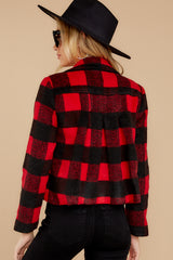 8 Light My Fire Red Plaid Moto Jacket at reddressboutique.com