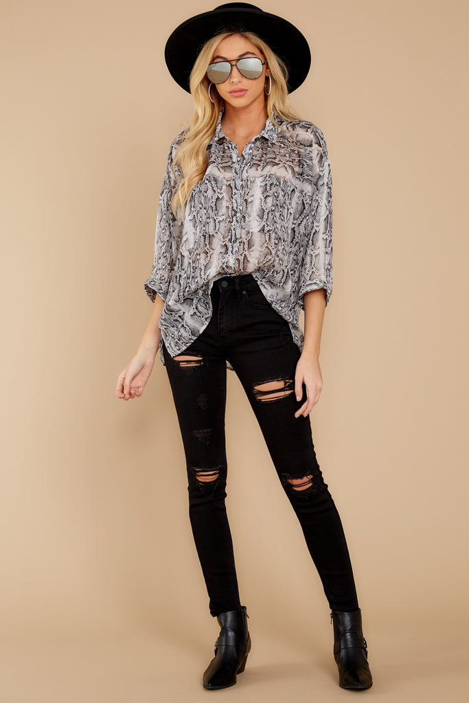 1 All Too Well Taupe Snake Print Top at reddressboutique.com