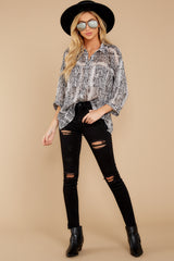 4 It's An Experience Grey Snake Print Top at reddress.com