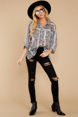 5 It's An Experience Grey Snake Print Top at reddress.com