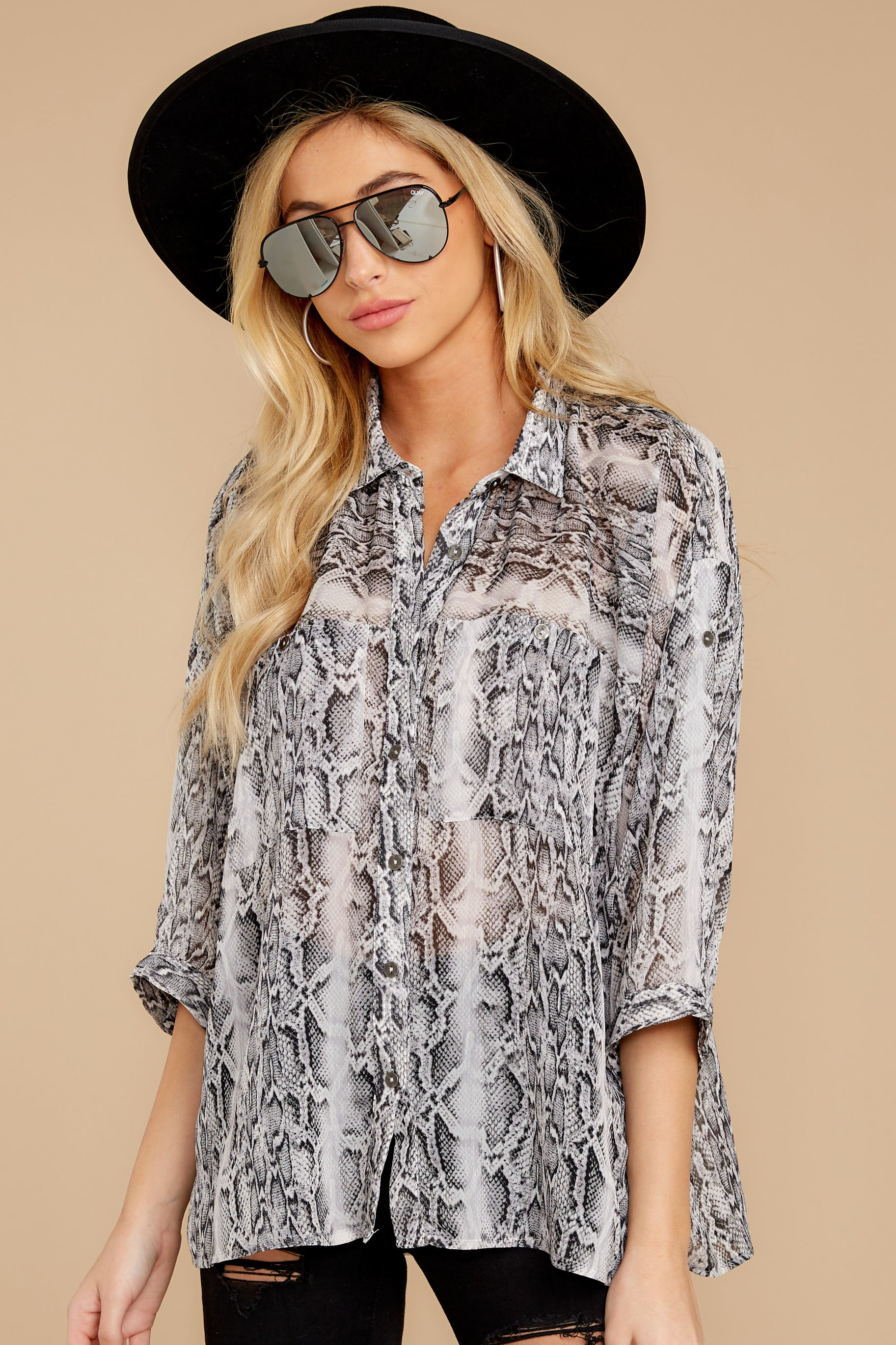 1 It's An Experience Grey Snake Print Top at reddress.com