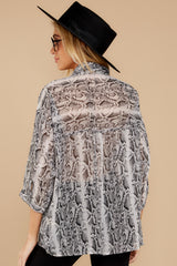 8 It's An Experience Grey Snake Print Top at reddress.com