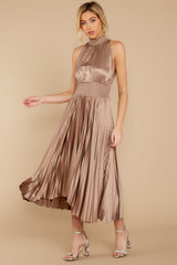 3 Classic Glamour Taupe Maxi Dress at reddressboutique.com