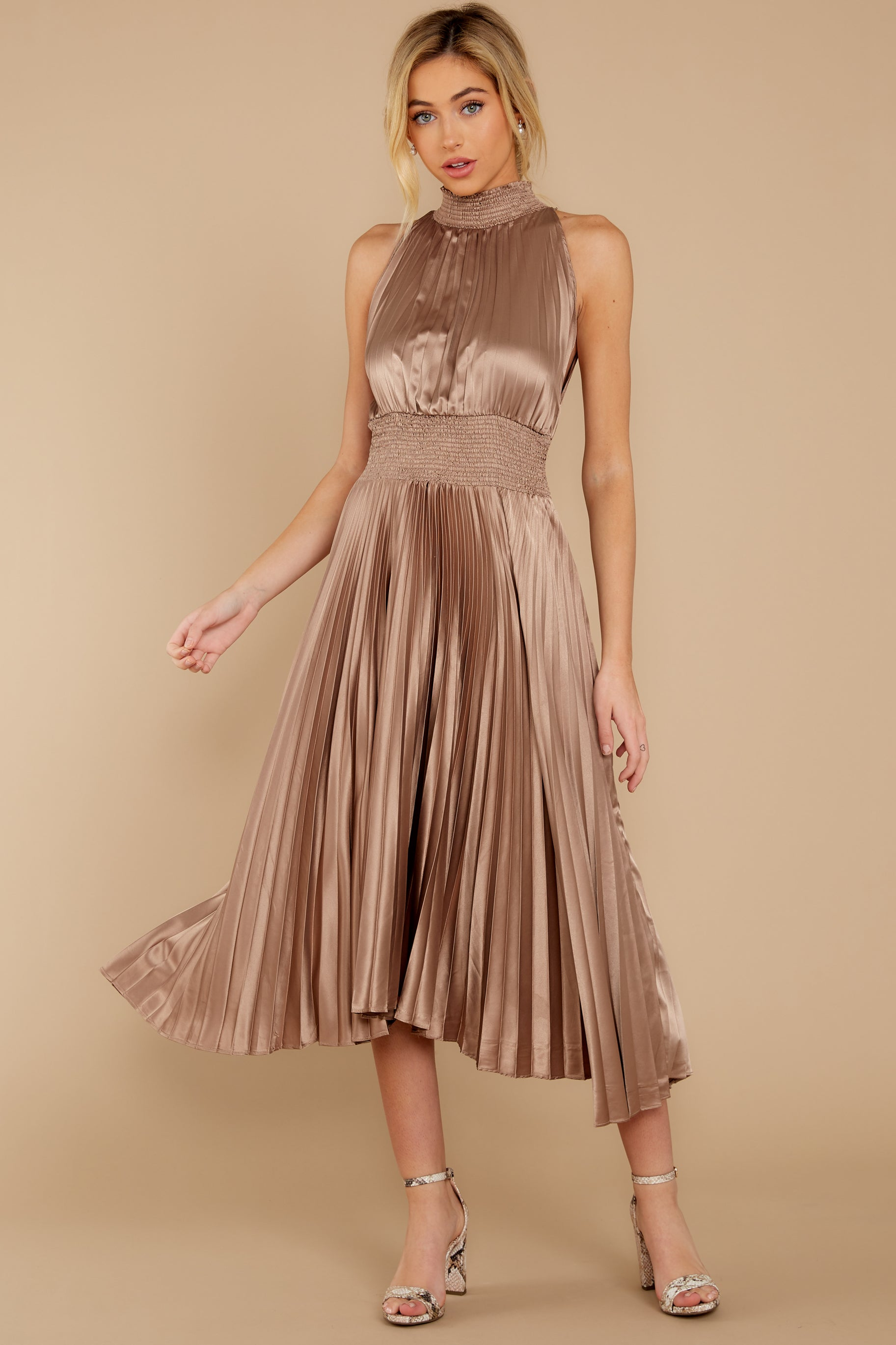 1 Classic Glamour Taupe Maxi Dress at reddressboutique.com