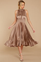 5 Classic Glamour Taupe Maxi Dress at reddressboutique.com