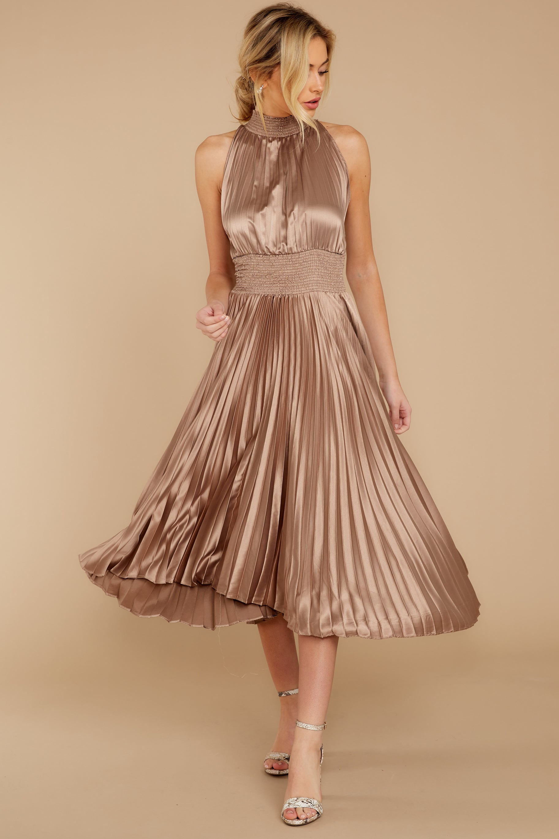7 Classic Glamour Taupe Maxi Dress at reddressboutique.com