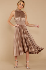 4 Classic Glamour Taupe Maxi Dress at reddressboutique.com