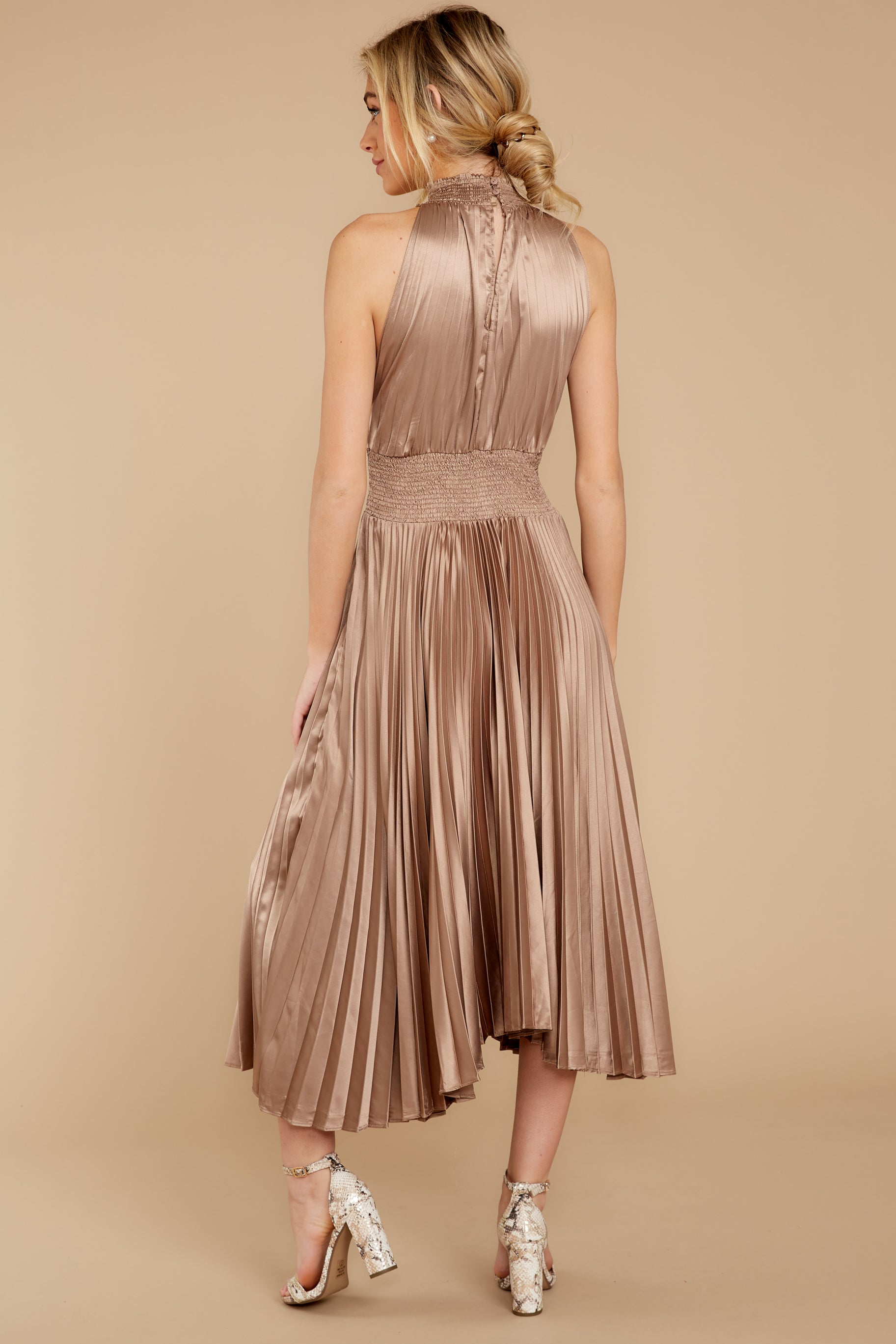 8 Classic Glamour Taupe Maxi Dress at reddressboutique.com
