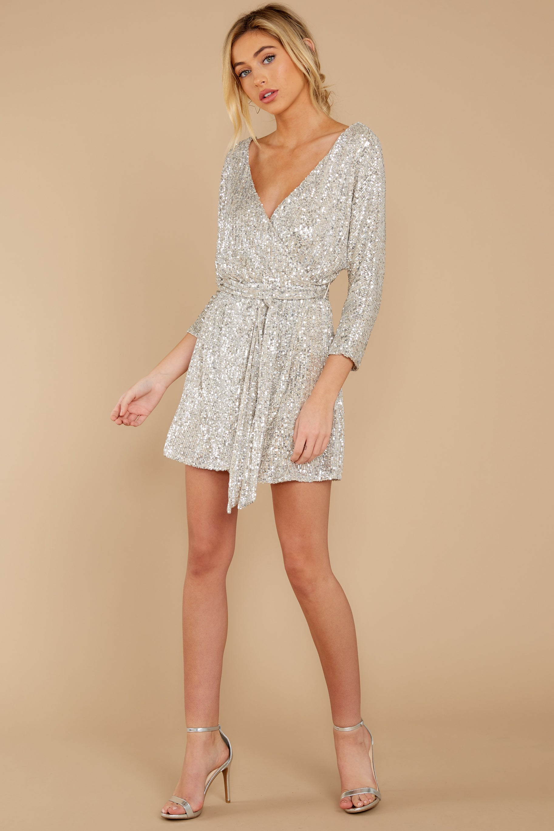 4 Show Stopper Champagne Sequin Dress at reddress.com
