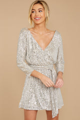 6 Show Stopper Champagne Sequin Dress at reddress.com