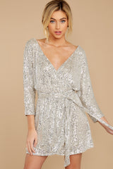7 Show Stopper Champagne Sequin Dress at reddress.com