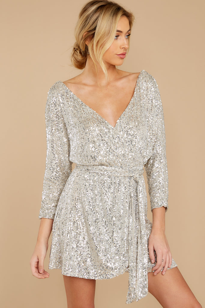 5 Maybe It Was Magic Champagne Sequin Dress at reddressboutique.com