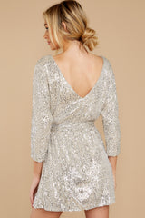 8 Show Stopper Champagne Sequin Dress at reddress.com