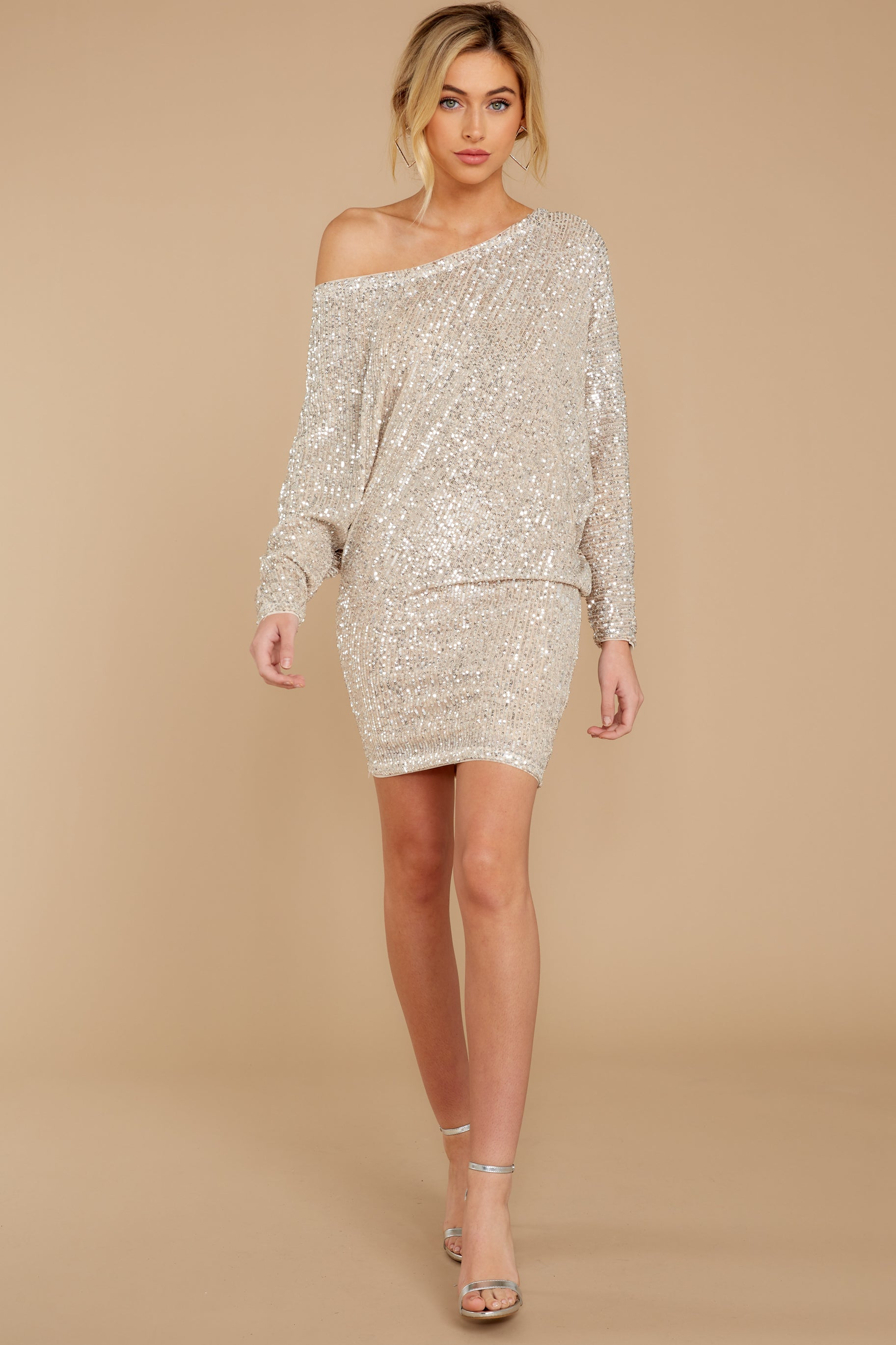 1 Maybe It Was Magic Champagne Sequin Dress at reddressboutique.com