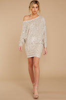 Dolman Sleeves Round Neck Sequined Dress
