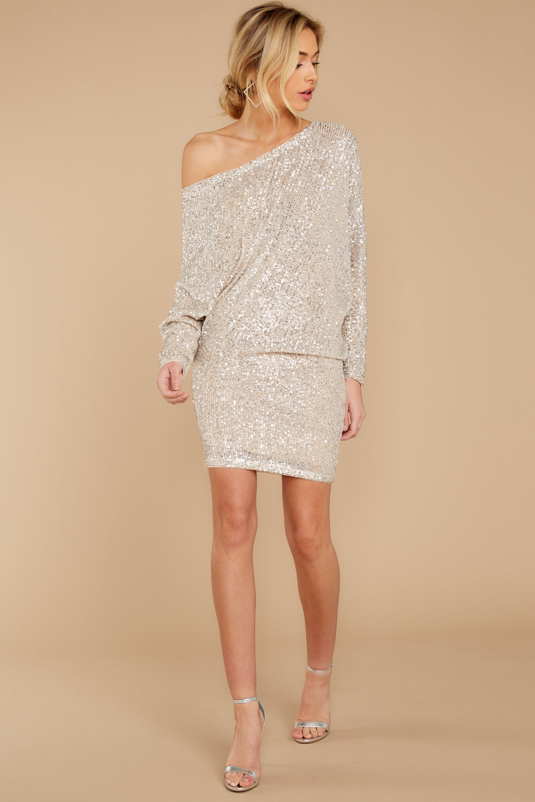 2 Maybe It Was Magic Champagne Sequin Dress at reddressboutique.com