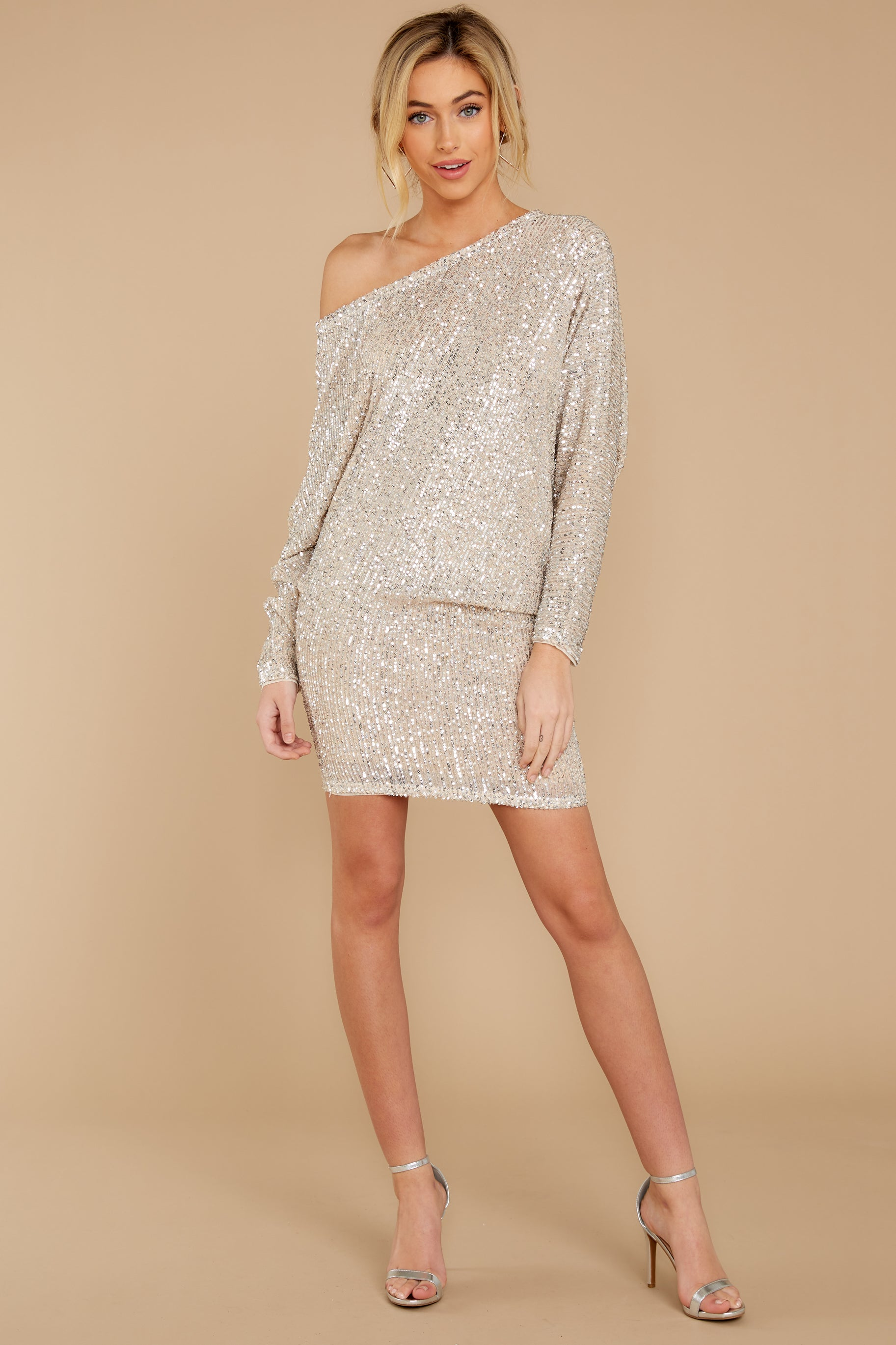 3 Maybe It Was Magic Champagne Sequin Dress at reddressboutique.com