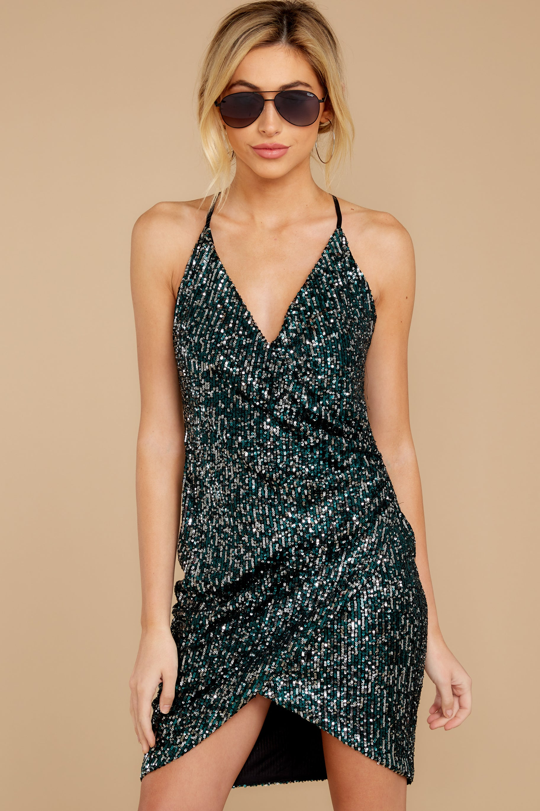 5 Time To Twinkle Evergreen Sequin Wrap Dress at reddressboutique.com