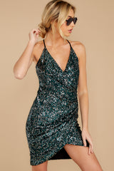 6 Time To Twinkle Evergreen Sequin Wrap Dress at reddressboutique.com