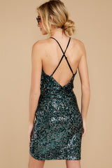 8 Time To Twinkle Evergreen Sequin Wrap Dress at reddressboutique.com