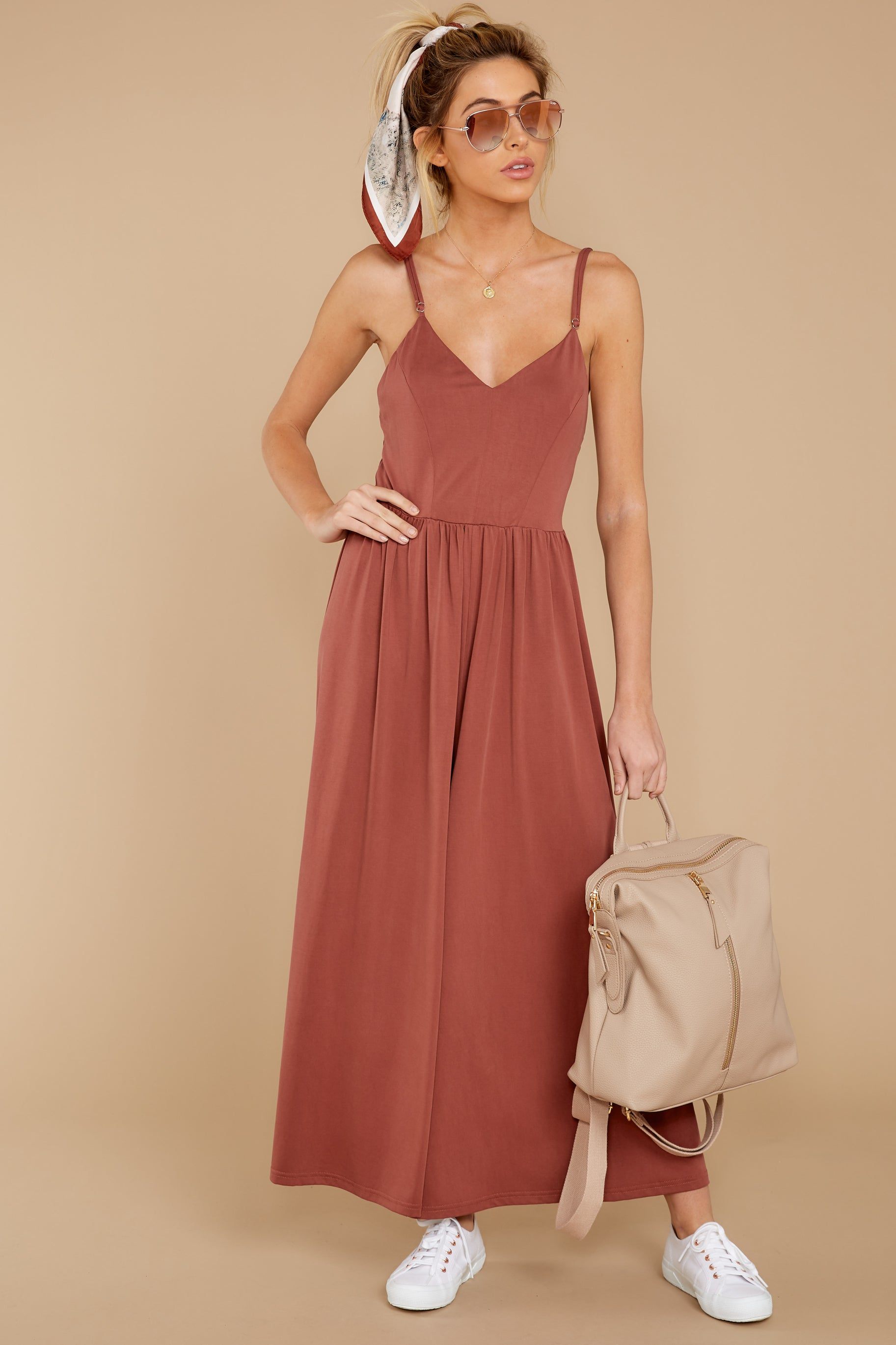 2 Casual Day Out Clay Jumpsuit at reddressboutique.com