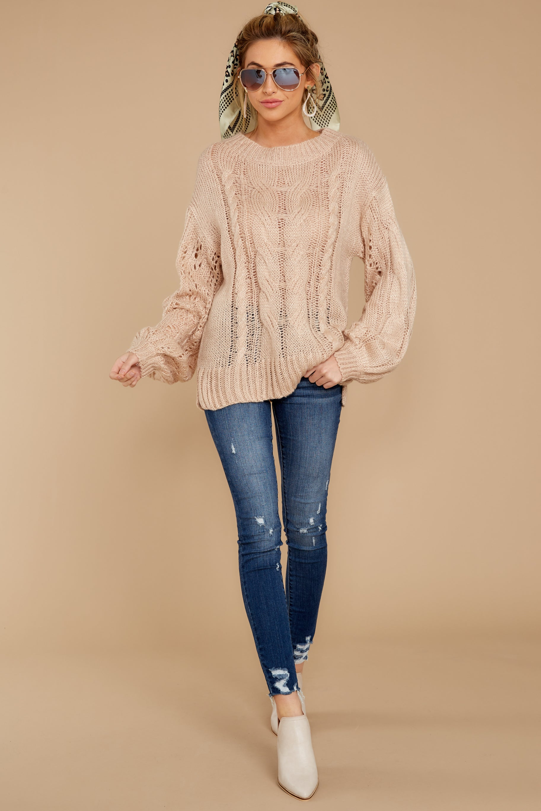 Crossroad Ahead Taupe Sweater