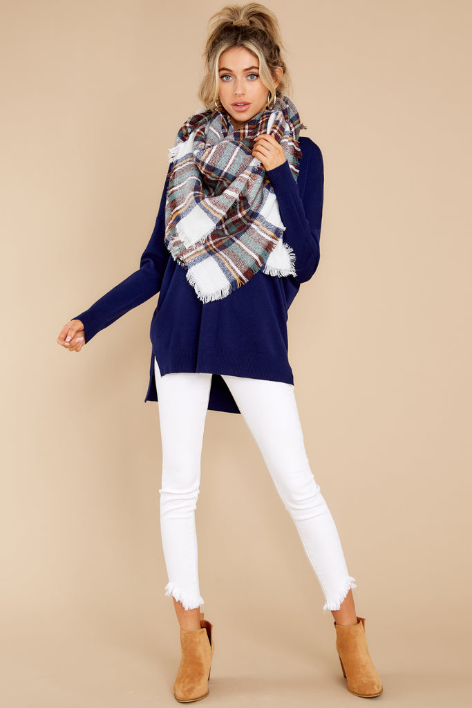 1 Chilled For The Day White And Navy Multi Plaid Scarf at reddress.com