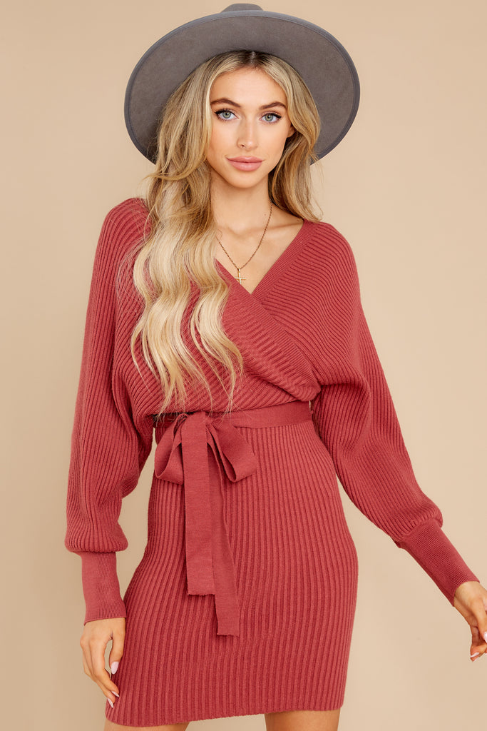 1 Continuous Bliss Marsala Sweater Dress at reddress.com