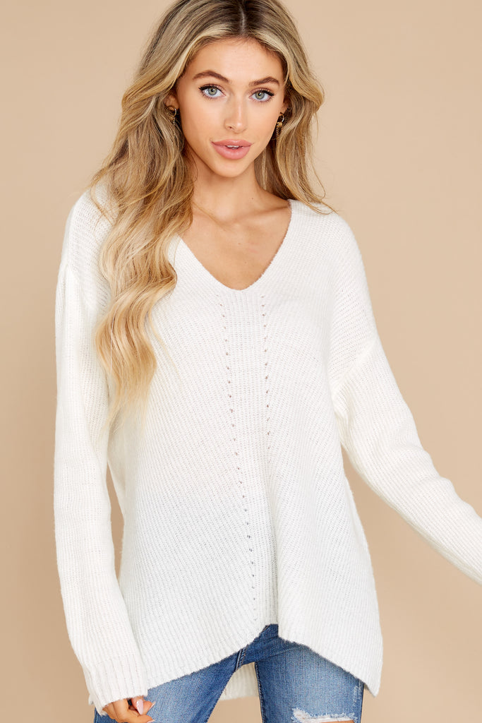1 On Repeat White Sweater at reddress.com