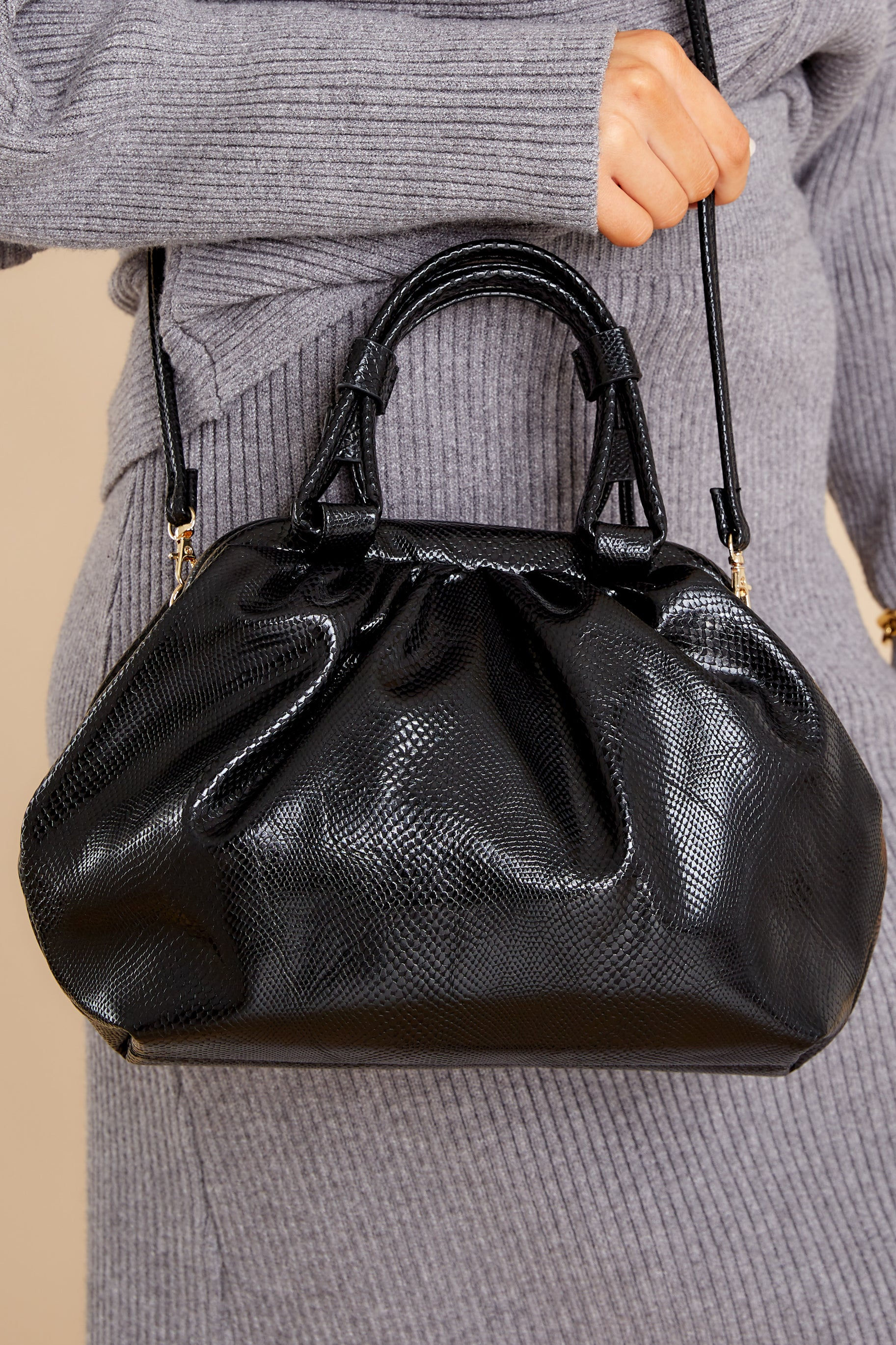1 No Easy Catch Black Vegan Leather Crossbody Bag at reddress.com